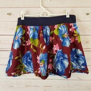 Hollister Women's Large Floral Skirt Stretch Waist